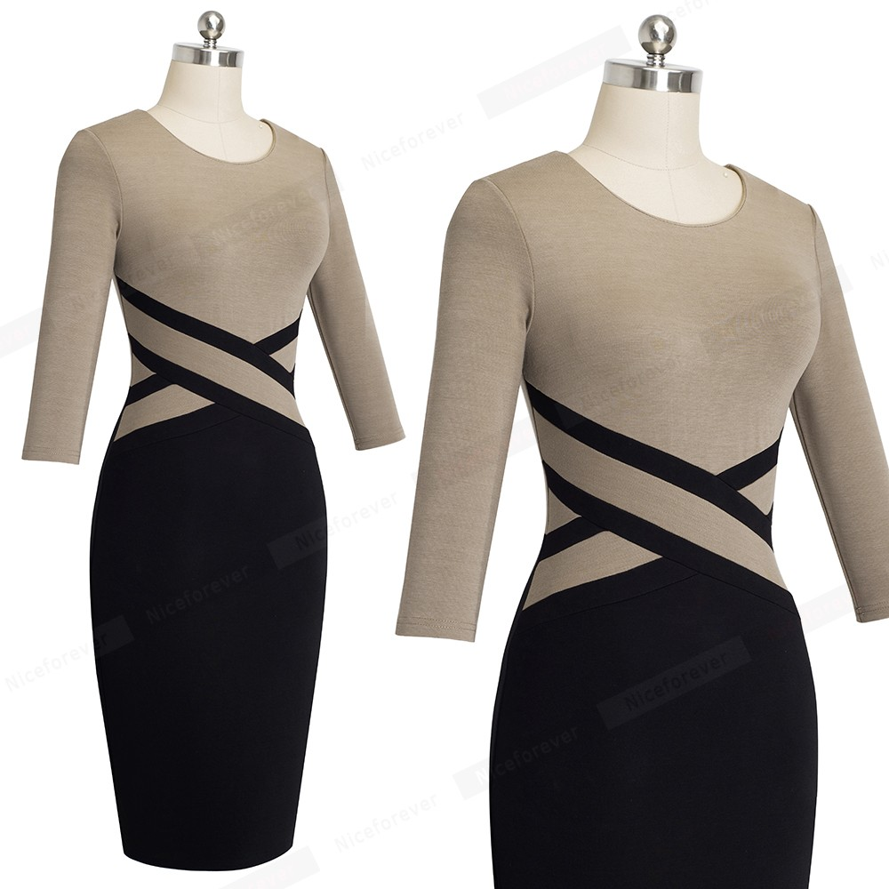 Nice-forever Vintage Elegant Contrast Color Patchwork Wear to Work vestidos Business Party Office Women Bodycon Dress B463 22