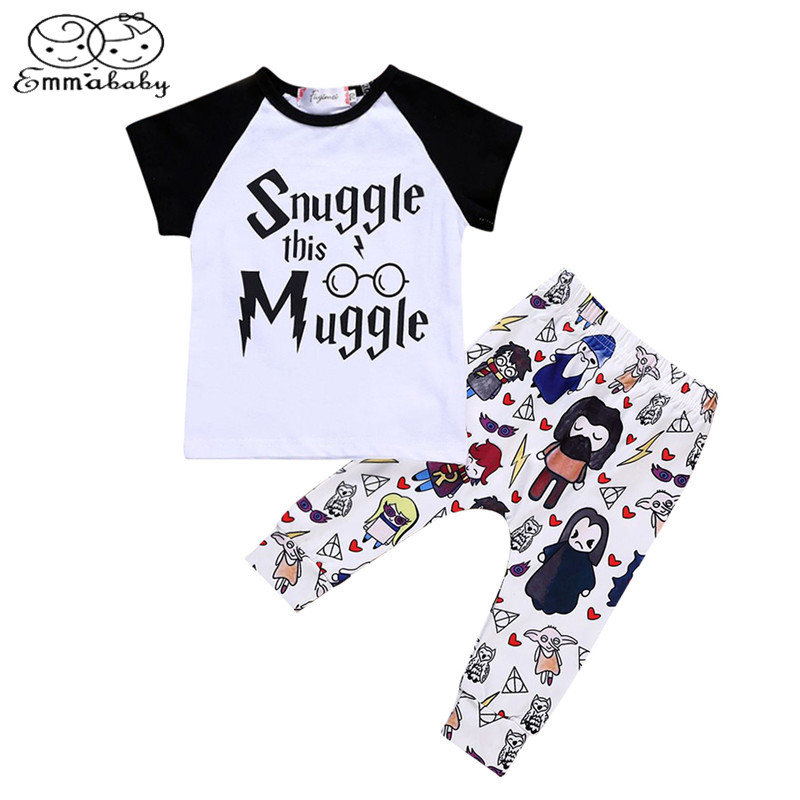 Emmababy 2pcs Baby Boy Girl Patchwork T-shirt Top+ Cartoon Pants Leggings Outfit Toddler Kids Summer Clothes
