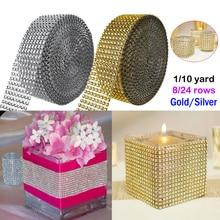 WITUSE Gold Silver Diamond Mesh 1/10 Yards Party Xmas Decoration Trim Wrap Roll Sparkle Rhinestone Crystal Bling Cake Ribbon