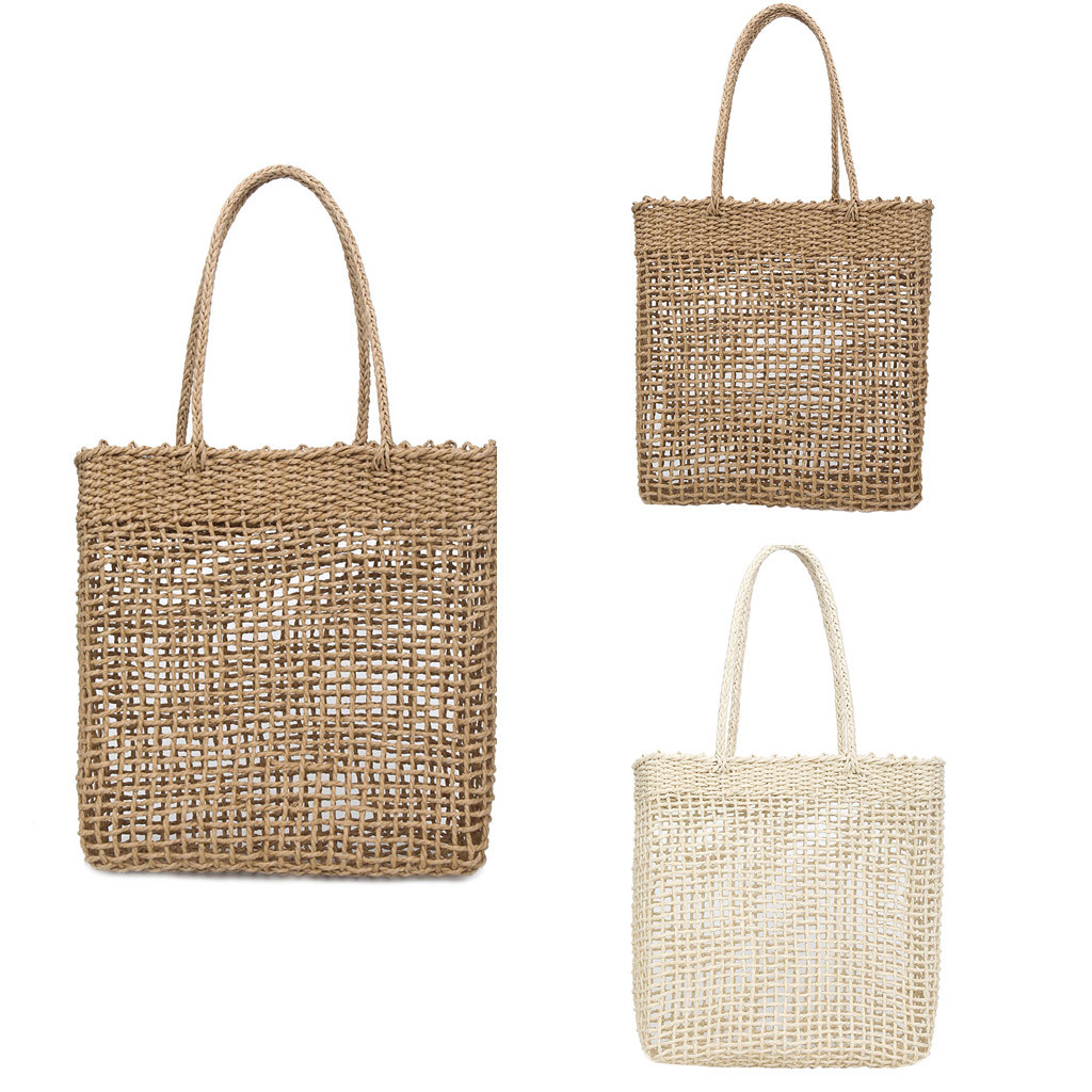 Handbag, Openwork, Bohemian Style  Straw Woven Bag Solid Color Shoulder Bags Wild Casual Hollow BagHandbag, Openwork, Bohemian Style  Straw Woven Bag Solid Color Shoulder Bags Wild Casual Hollow Bag