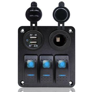 Mới Không Thấm Nước 3 Gang LED Rocker Đổi Bảng Điều Chỉnh Kép USB Ngắt Mạch Cho Marine Xe Thuyền RV 2017 XR657