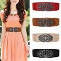 Mulheres Elástica Larga Cintura Trimmer Belt Correias Cintura Flor Liga Vintage Elastic Estiramento BeltFor Moda Vestuário Acessórios