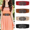 Women Wide Elastic Belt Straps Waistband Alloy Flower Vintage Waist Trimmer Elastic Stretch BeltFor Fashion Apparel Accessories
