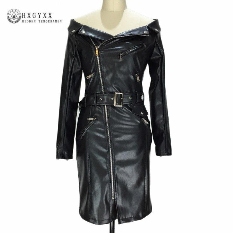 Manches longues en cuir PU Robe femmes vêtements d'hiver 2019 Sexy hors épaule Zipper Midi Club Robe ceinture Robe robes de soirée Okd503