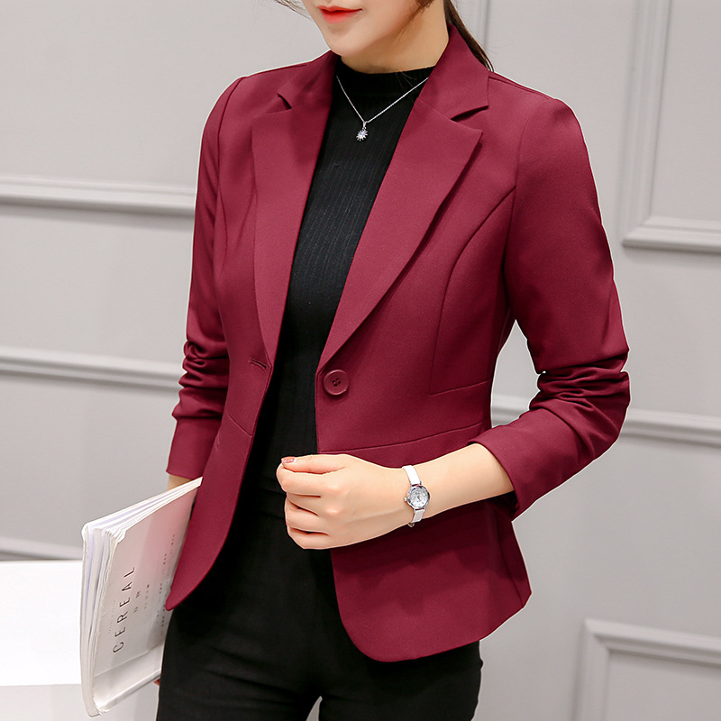 Women Autumn 2019 Long Sleeve OL Blazer Jacket Single Button