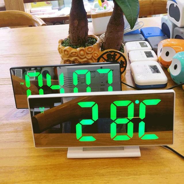 디지털 알람 시계 LED 미러 시계 다기능 디지털 알람 시계 표시 시간 밤 테이블 데스크탑 Despertador