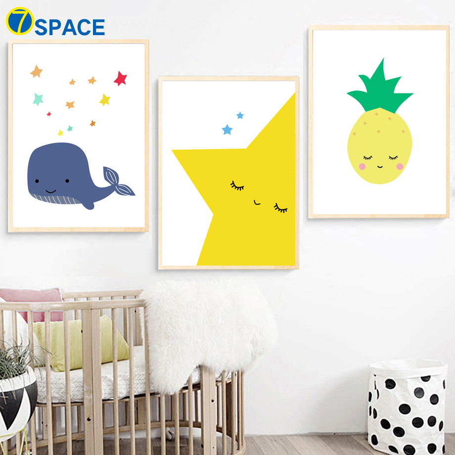 Cartoon Whale Star Pineapple Wall Art Canvas Painting Nordic Posters ...