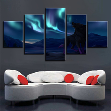 Bedroom Wall Decoration Printing HD Modular Canvas Paintings 5 Pieces Animal Wolf Aurora Night Scene Pictures Frames Posters Art