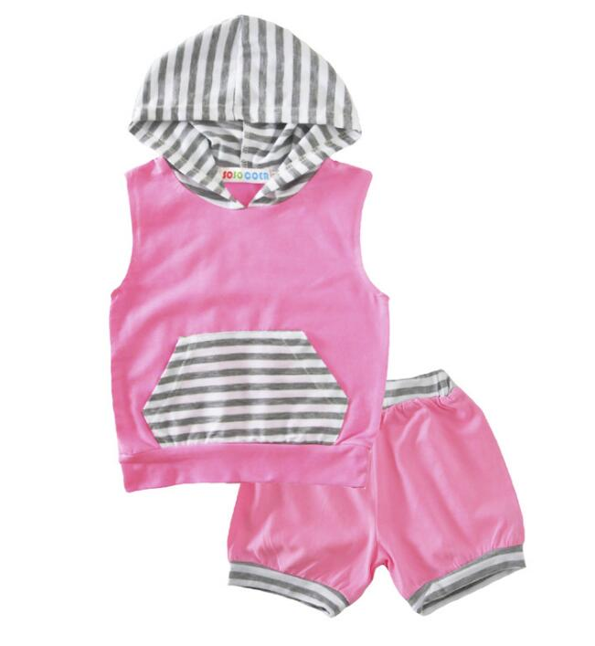 2018 toddler baby girls summer clothing sets white grey stripe 2 piece clothes kids suit tracksuit children pink skirt for 0-24M