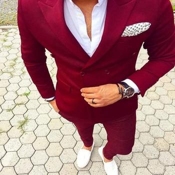 High Quality Double Breasted Groom Tuxedos Peak Lapel Groomsmen Mens Wedding Suits Blazers (Jacket+Pants+Tie) W:662
