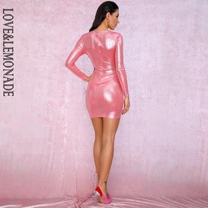Image 5 - AMORE & LIMONATA Rosa Profondo Scollo A V Pieghettato Decorazione Del Nastro Scintillante Tessuto Bldycon Andando Fuori Riflettente Vestito LM81639 1