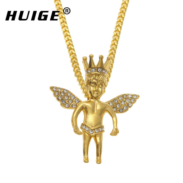 New style gold iced out crown angel baby pendants hip hop charm new style gold iced out crown angel baby pendants hip hop charm necklaces pendants for aloadofball Choice Image