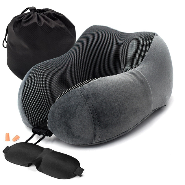 1PC U Shaped Memory Foam Neck Pillows Soft Slow Rebound Space Travel Pillow Solid Neck Cervical Healthcare Bedding Drop Shipping 1
