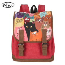 Newest High Quality Women Canvas Backpack Double Belt Cartoon Cat Printing Backpack Students Computer Bag Notebook