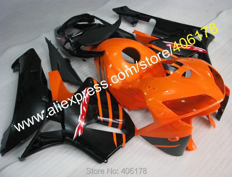 Hot Sales,For Honda CBR600RR 05 06 CBR 600RR CBR 600 RR F5 2005 2006 Orange Black ABS Motorbike Fairings set (Injection molding)