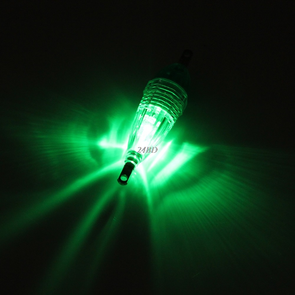 Mini LED Deep Drop Underwater Fishing Squid Fish Lure Light Green Flashing Lamp S12