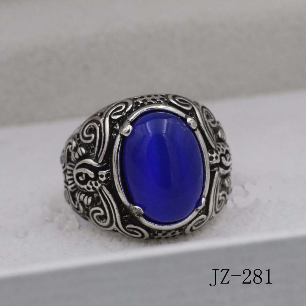 1ps Free shipping ring The new set big stones Imitation of Thai silver  restoring ancient ways men domineering ring jewelry