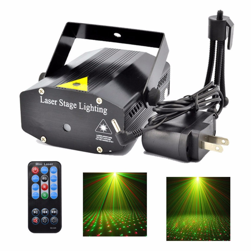 Mini Black Shell Portable Remote Rood Groen RG Galaxy Starshine Laser Projectorlichten Disco DJ Home Party Xmas Stage Lighting OI