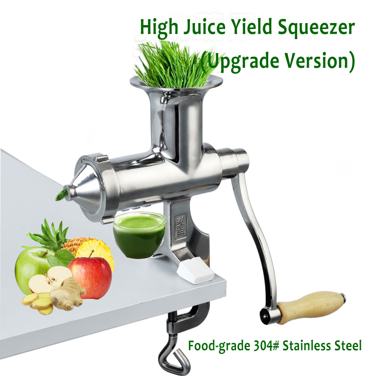 Upgraded Hand Operation Juice Extractor Stainless Steel Wheat Grass Juicer Squeezer Fuite Juicing Presser with High Juice Yield wheat grass juicer stainless steel manual home use vegetable orange juicing machine juice extractor