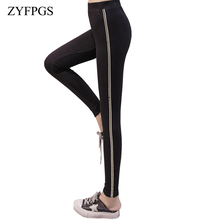 ZYFPGS 2019 Autumn Leggings Suture Sideband Cotton 5XL Elasticity Womans Pants Fashion Plus Size New Arrivals Z0806