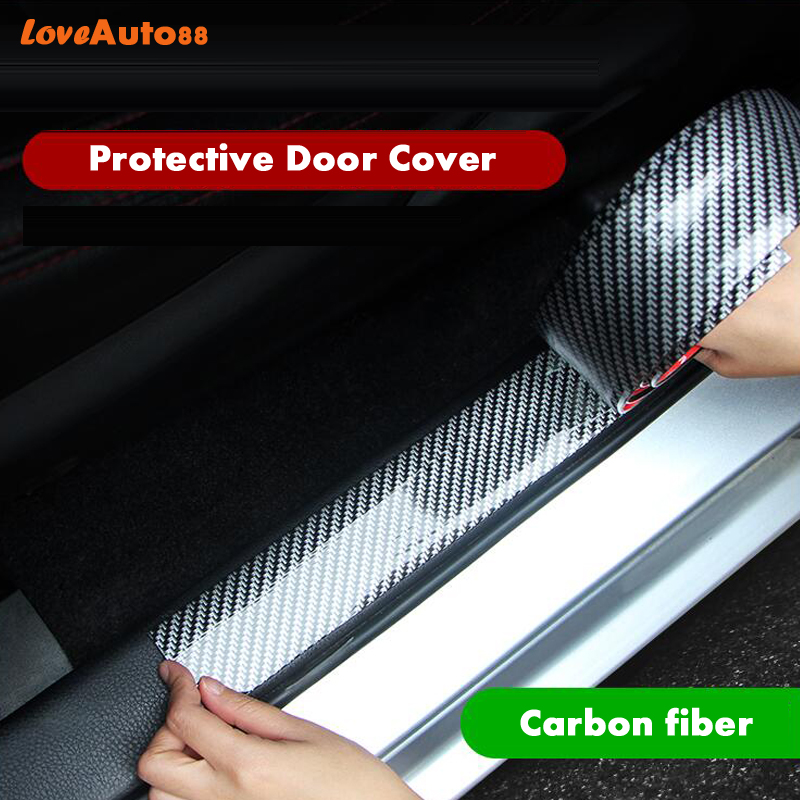 Car styling Carbon Fiber Rubber Door Sills Protector Goods Scuff Plate For <font><b>Hyundai</b></font> <font><b>Santa</b></font> <font><b>Fe</b></font> 2019 2020 Car <font><b>Accessories</b></font> image