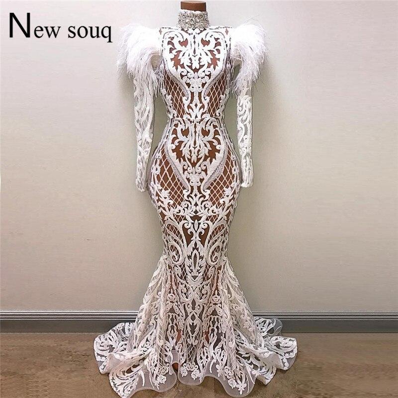 Robe De soirée sirène blanche Robe De soirée 2019 Illusion arabe robes De soirée plume perlée dubaï Abaya caftan longue Robe De bal