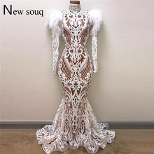 Weiß Meerjungfrau Abendkleider Robe De Soiree 2019 Illusion Arabisch Party Kleider Feder Perlen Dubai Abaya Kaftan Lange Prom Kleid