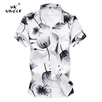 YK UNCLE Brand Clothes 2018 Summer New Men's Short Sleeve Shirt 8 Styles Casual Slim Printing Shirt Plus Size 4XL 5XL 6XL 7XL