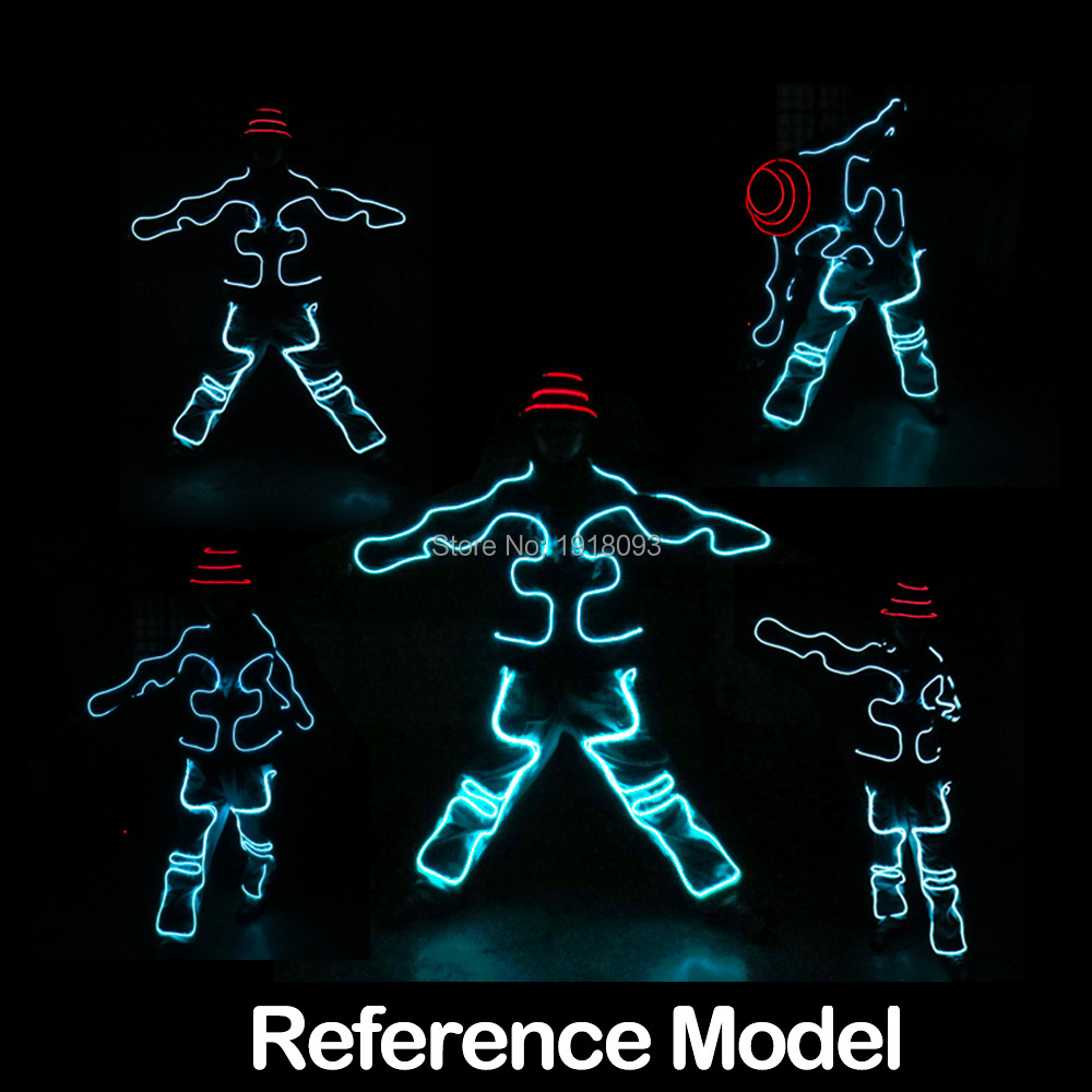 New Cool LED Strip Luminous Suits EL Wire Glowing Light Suits Flashing Rave Costumes for Glow Party Decoration steady on inverter el wire glowing hip hop cap led strip light up glowing product make up party glow props for party supplies