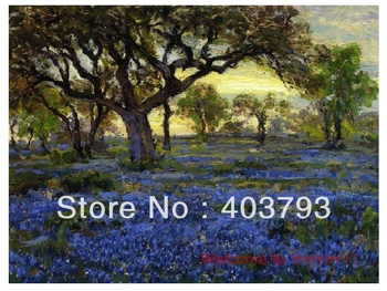 Old Live Oak Tree and Bluebonnets Onderdonk repro oil painting on canvas  free shipping
