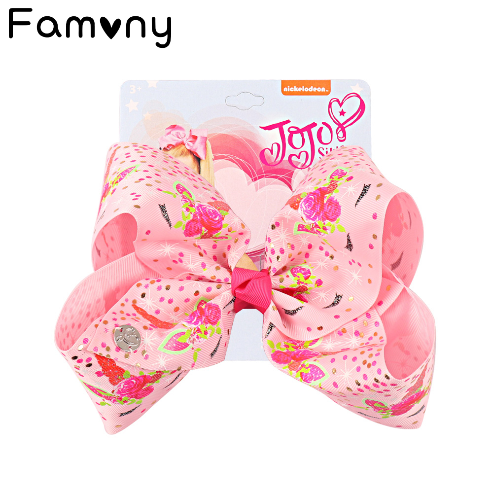 Girls 8 Inch Jumbo Cartoon Hairbow with Gift Card Children Bowknot Rainbow Hair Bow Cute Hairgrips Accessories Kids Gifts