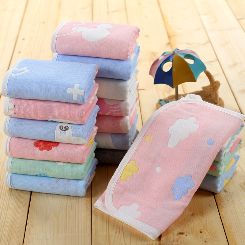 Cute printing cotton baby wipe towel Face Towel 25*50cm absorbent soft baby handkerchief for baby girls boys Bath Towels C