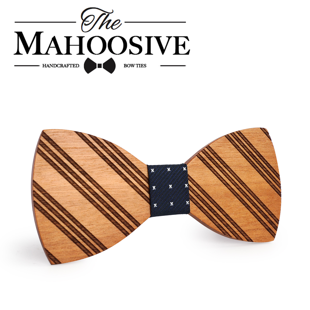Mahoosive Gravata Wedding Bow Tie Wooden Butterfly  For Men's Suit Shirt Necktie Jewerly Accessory