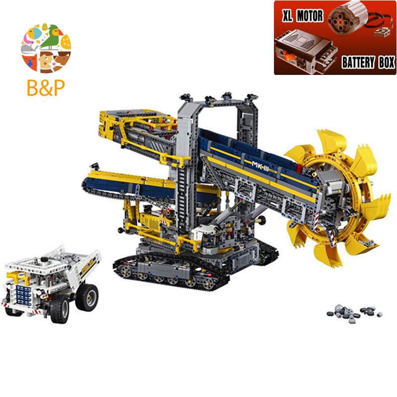 lepin Leoging 42055 3929Pcs Technic Series Bucket Wheel Excavator Building Blocks Bricks Educational Toys for Children 20015 196pcs building blocks urban engineering team excavator modeling design