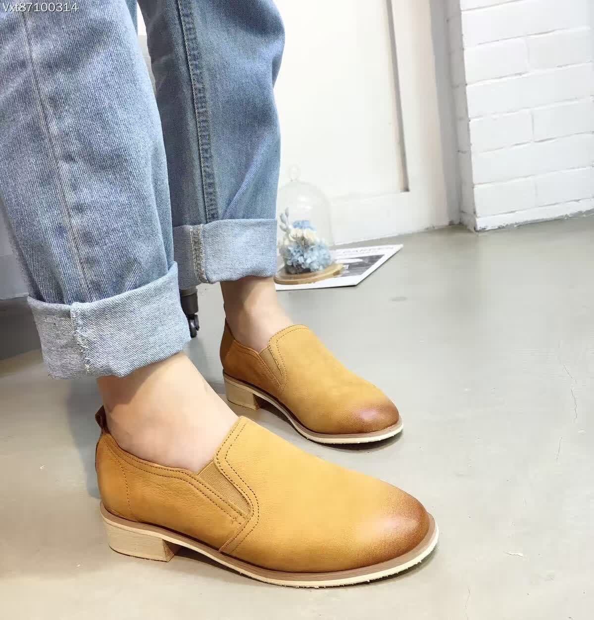 100% Real Cowhide Casual Shoes Womens Loafers Yellow Khaki Oxford Shoes For Women Leather Shoes Mujer Zapatos Mocasines