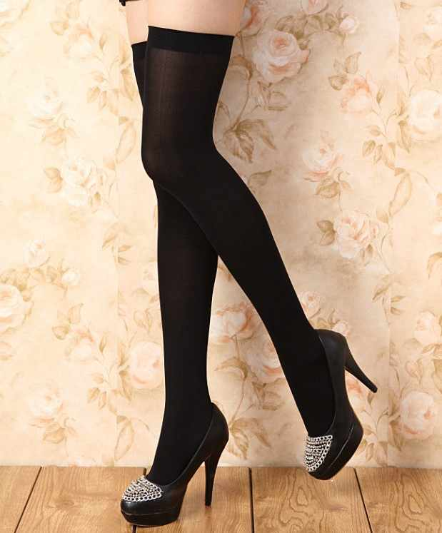 Skid-proof knee socks stockings White black student stockings High stockings velvet lengthening