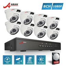 ANRAN P2P Plug and Play 1080P HD 48 IR Outdoor Waterproof Day Night Security IP POE Camera 8CH NVR POE CCTV System Hard Disk