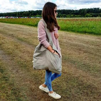 Large ECO Fashion Durable Women Student Cotton Linen Single Shoulder Bag Shopping Tote Flax Canvas Shopping Bags 3
