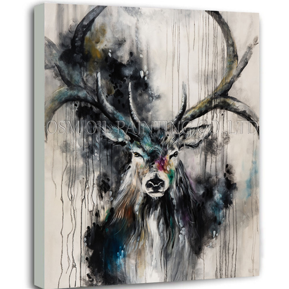 Profesional Artist Handmade High Quality Black Art Painting Oil on Canvas Abstract Animal Reindeer Oil Painting for Wall Art