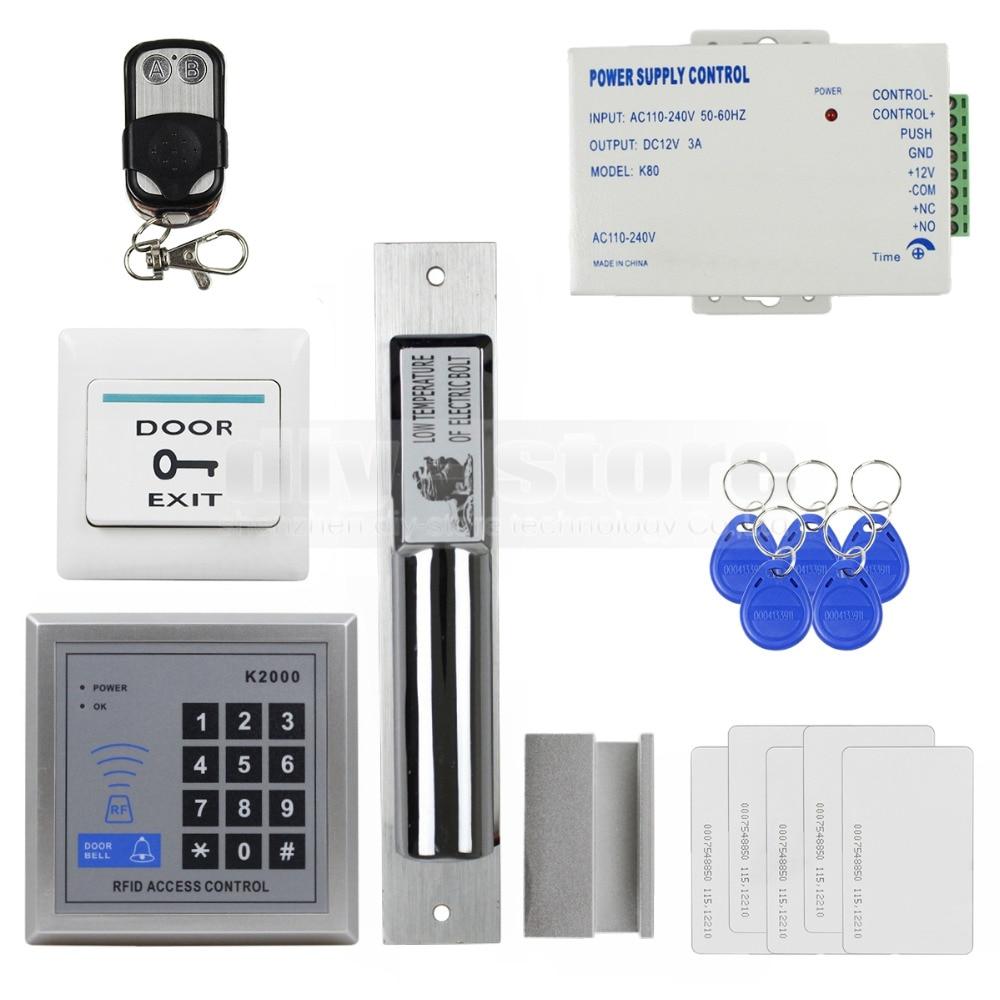 DIYSECUR RFID Access Control DIY Full Kit Set With Electric Drop Bolt Lock +5 ID Cards 5 Keyfobs бесплатная доставка diy kit tps71550qdckrq1 ic reg ldo 5 в 50ma sc70 5 71550 tps71550 10 шт