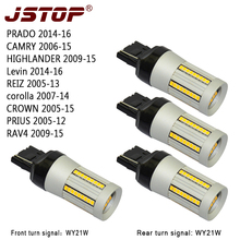 JSTOP 4pcs/set 12-24VAC led Turn Signal lamps W21W 7440 WY21W yellow 1300-1500LM Auto Front Rear Canbus 100%No error