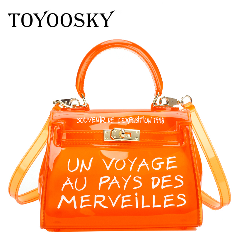 TOYOOSKY Satchel Handbag Women Bag Clear Jelly Transparent PVC Bag Candy Color Tote Bag Designer Purse Bolsa Crossbody Bag trendy zippers and candy color design women s tote bag