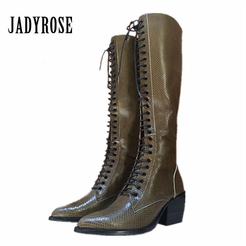Jady Rose Women Knee High Boots Retro Riding Boot Autumn 7CM High Heel Boots Lace Up Shoes Woman Platform Rubber Botas MujerJady Rose Women Knee High Boots Retro Riding Boot Autumn 7CM High Heel Boots Lace Up Shoes Woman Platform Rubber Botas Mujer