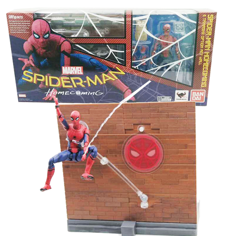 SHFiguarts Spider Man Figure Homecoming Tamarshii Option Act Wall Spiderman PVC Action Figures Collectible Model Toy 15cm