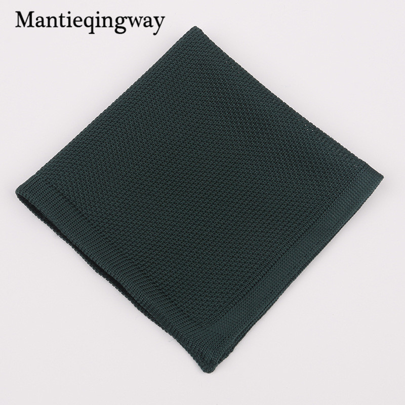 Mantieqingway Trendy Knitted Handkerchief For Mens Pocket Square Towel Business Chest Towel Solid Color Polyester Knitting Hanky