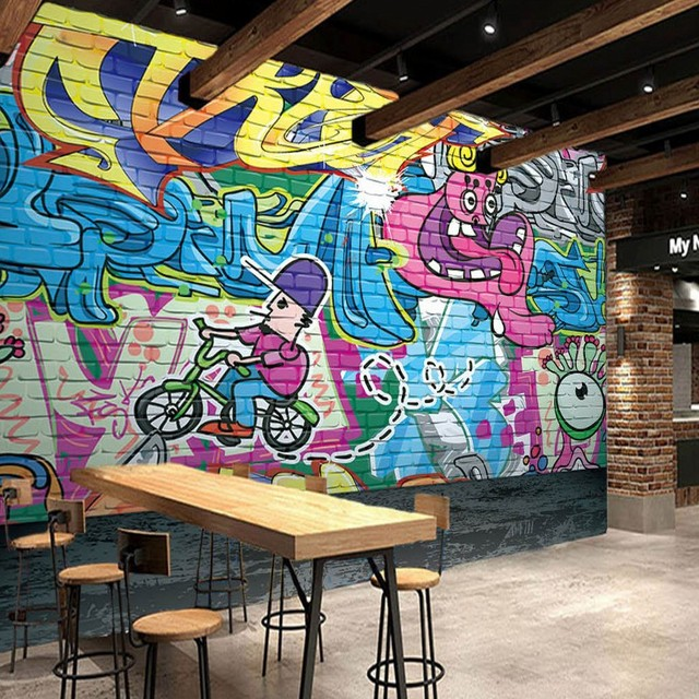 Photo Wallpaper Cool Street Graffiti Mural Bar KTV Tooling Background Wall Paper Studio Decorative Painting