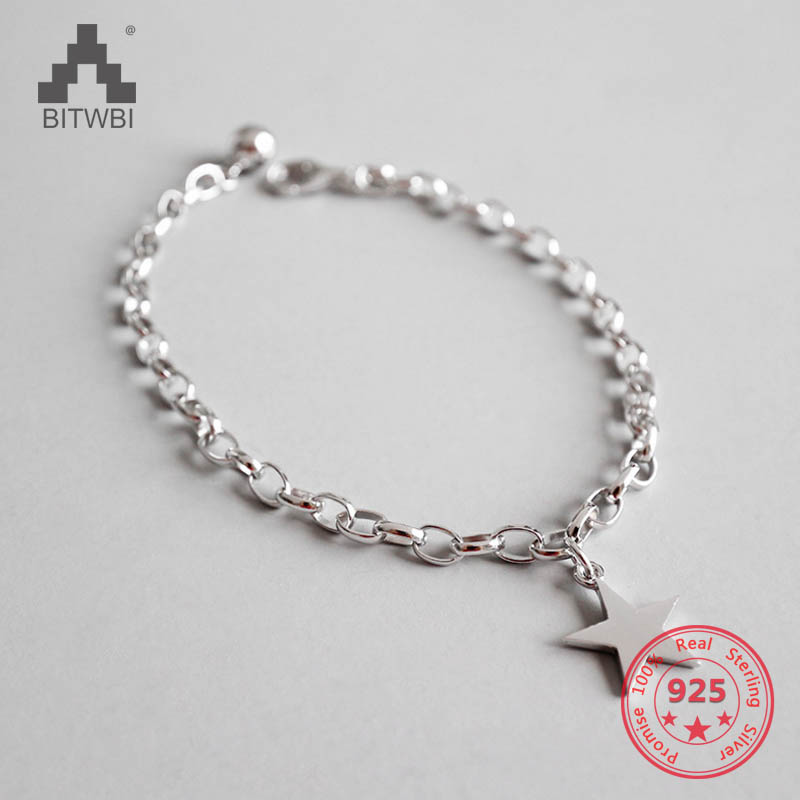 Authentic 925 Sterling Silver Jewelry Five-pointed Star Charm Bracelets For Women