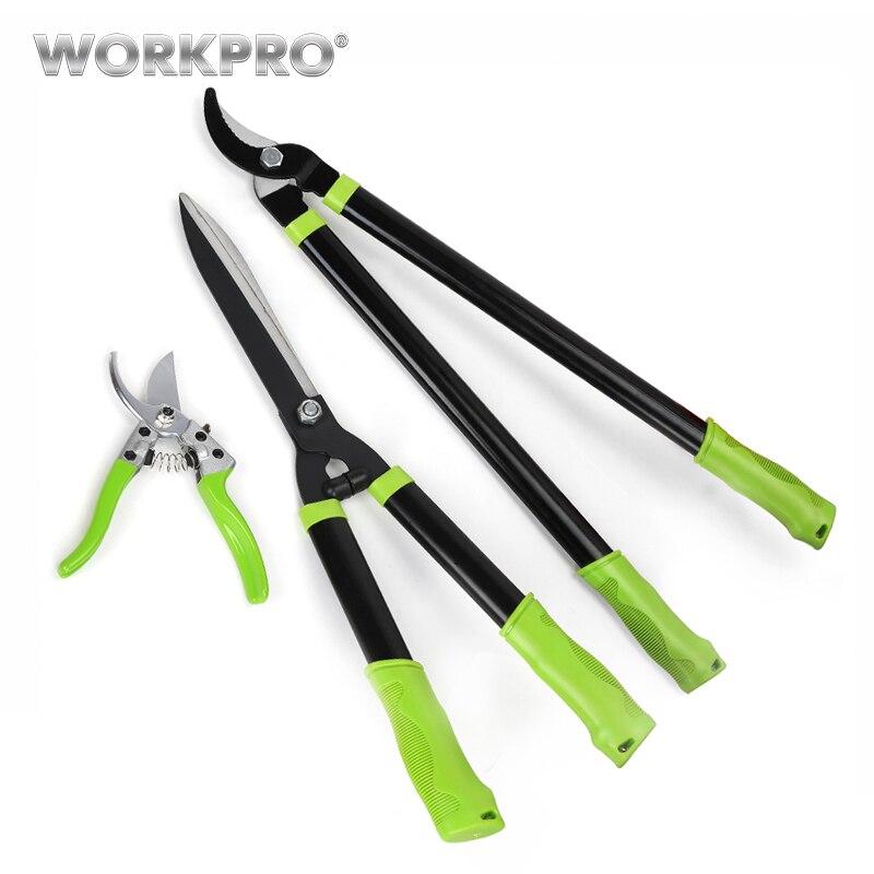 Workpro 3 pc conjunto de tesouras de poda cerca tesoura alta ramo tesoura ferramenta de poda conjunto para jardim grama