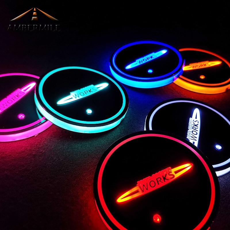 Ambermile led coasters carro luz sensor jcw copo tapetes almofadas para mini cooper jcw f54 f56 countryman r60 r61 r56 r55 f55 acessórios