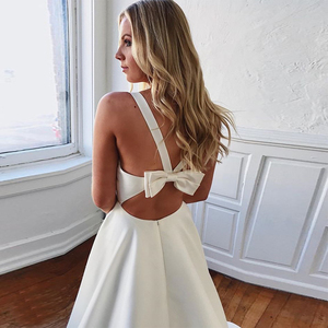 Image 2 - Simple V neck Wedding Dresses Cut out Bow Back Sleeveless Covered Button White Ivory Sexy Beach Wedding Gown Vestido De Noiva
